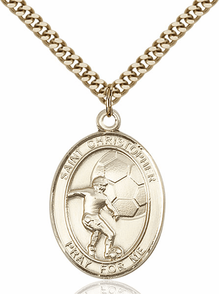 St Christopher Soccer Sports 14kt Gold-Filled Pendant Necklace by Bliss