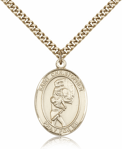 St Christopher Softball Player 14kt Gold-Filled Pendant Necklace by Bliss