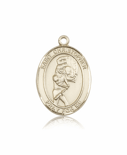 St Christopher Softball Player 14kt Gold Sports Medal Pendant by Bliss