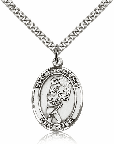 St Christopher Softball Player Sterling Silver Necklace by Bliss
