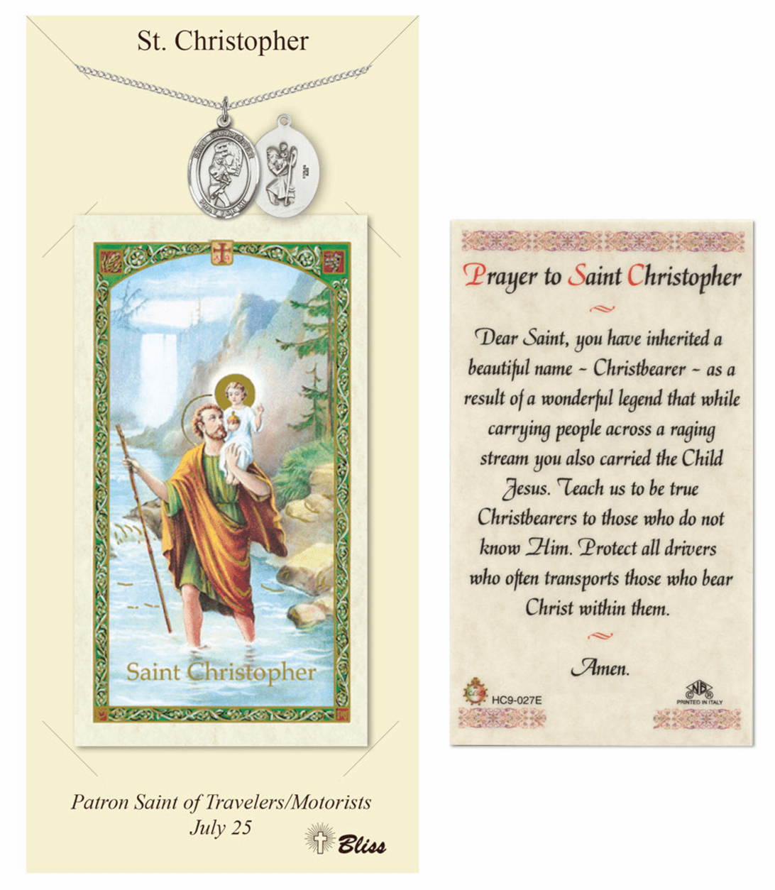 Bliss St Christopher Softball Prayer Card and Pewter Pendant Necklace Gift Set