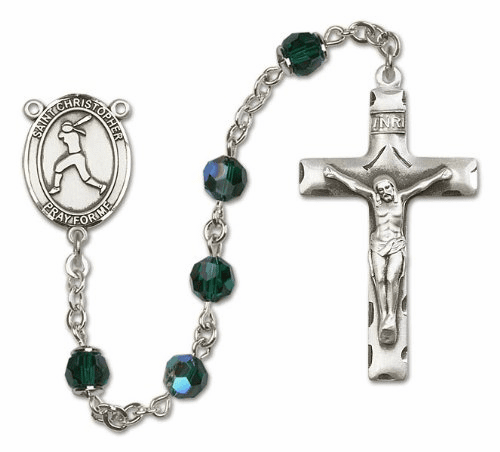 St Christopher Softball Sterling Silver Sports Rosary