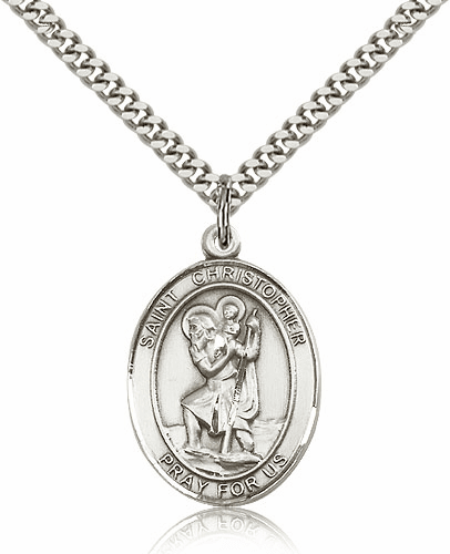 St Christopher Sterling-filled Patron Saint of Travel Medal Necklace by Bliss