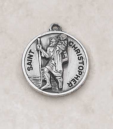 St Christopher Sterling Patron Saint Medal w/Chain by Creed Jewelry