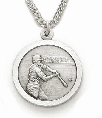 St Christopher Sterling Silver Boy's Baseball Player Medal Necklace by Singer