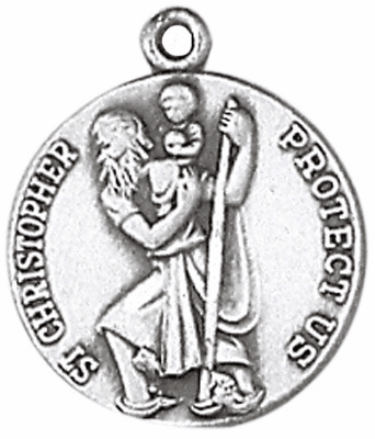 St Christopher Sterling Silver Saint Necklace