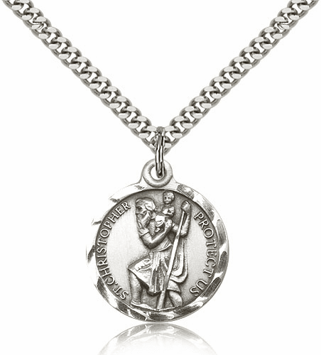 St Christopher Sterling Silver Saint Necklace by Bliss