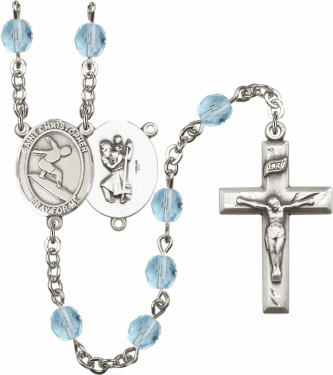St Christopher Surfing Athlete Silver-Plated Birthstone Rosary