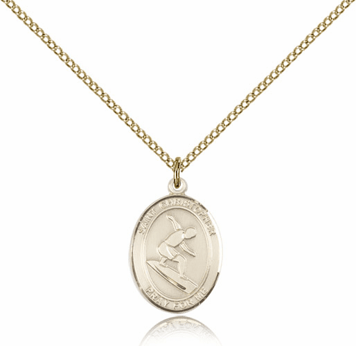 St Christopher Surfing Gold-Filled Saint Pendant by Bliss