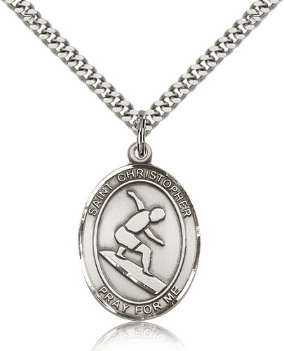 St Christopher Surfing Sterling Silver Saint Necklace by Bliss