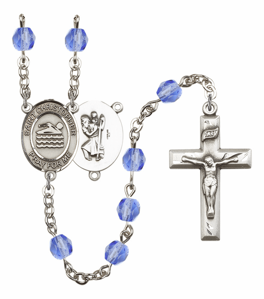 St Christopher Swimming Athlete Silver-Plated Birthstone Rosary