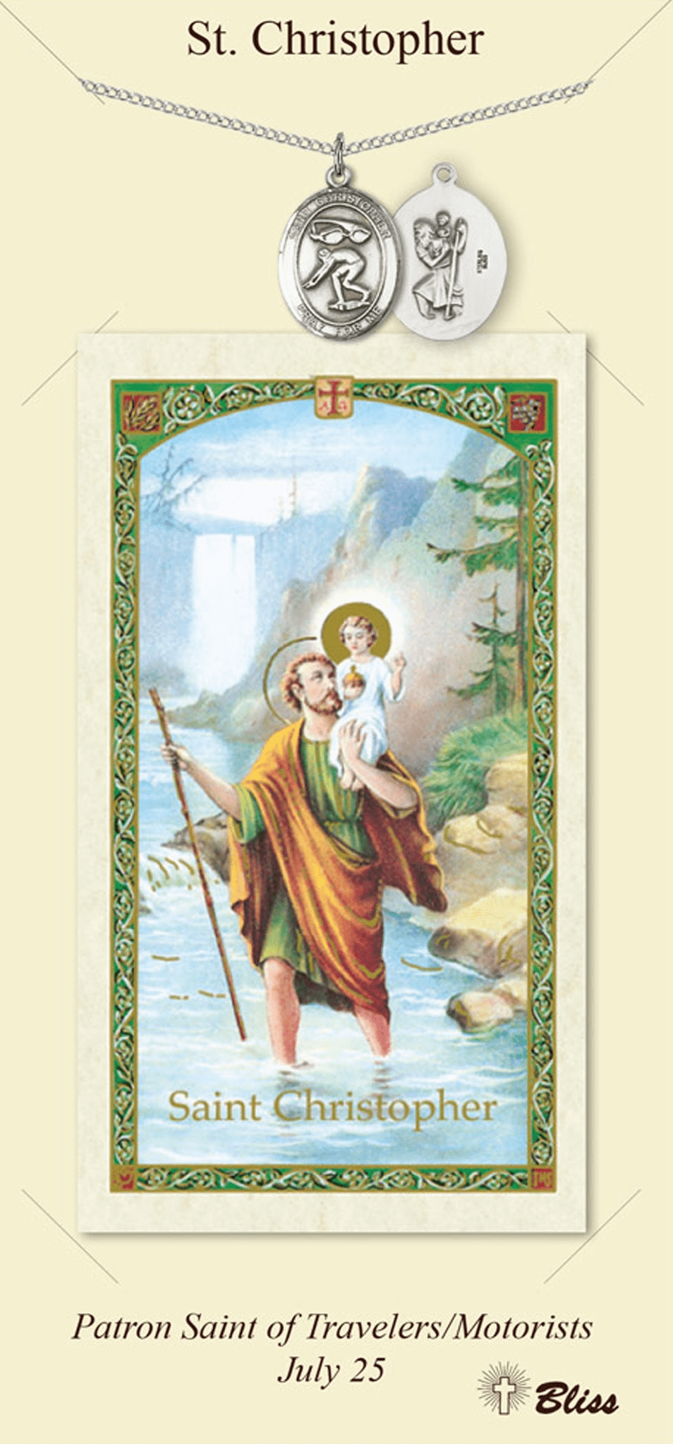 St Christopher Swimming Prayer Card and Pewter Pendant Necklace Gift Set