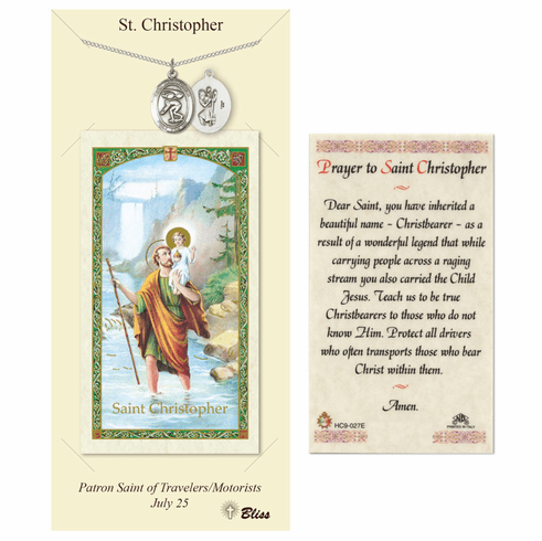 Bliss St Christopher Swimming Prayer Card and Pewter Pendant Necklace Gift Set