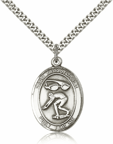 St Christopher Swimming Sterling-Filled Patron Saint Medal by Bliss