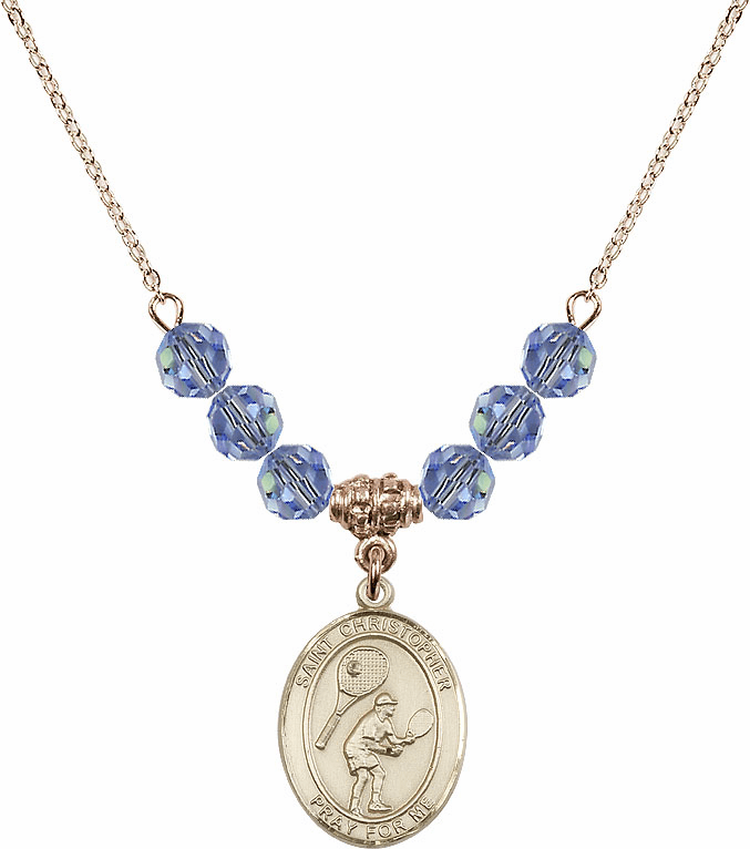 St Christopher Tennis 14kt Gold-filled Swarovski Crystal Beaded Patron Saint Necklace by Bliss Mfg