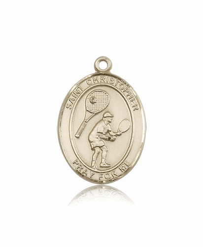 St Christopher Tennis 14kt Gold Sports Medal Pendant by Bliss