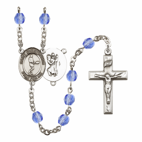 St Christopher Tennis Athlete Silver-Plated Birthstone Rosary
