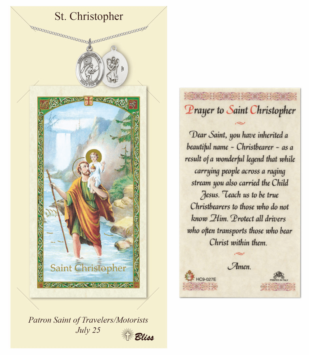 Bliss St Christopher Tennis Prayer Card and Pewter Pendant Necklace Gift Set