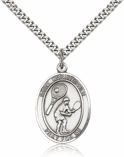 St Christopher Tennis Silver-Filled Patron Saint Medal by Bliss