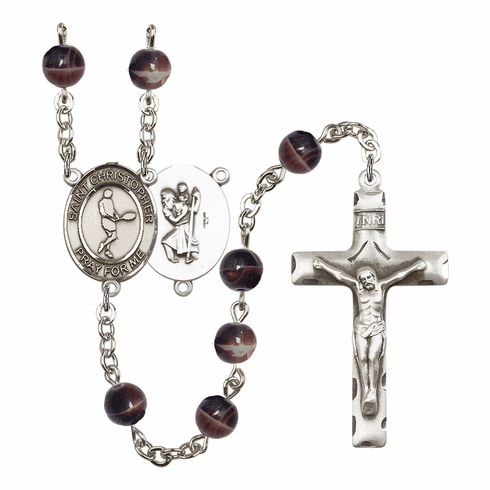 St Christopher Tennis 7mm Brown Gemstone Rosary by Bliss