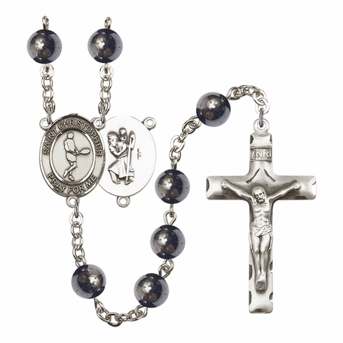 St Christopher Tennis 8mm Hematite Gemstone Rosary by Bliss