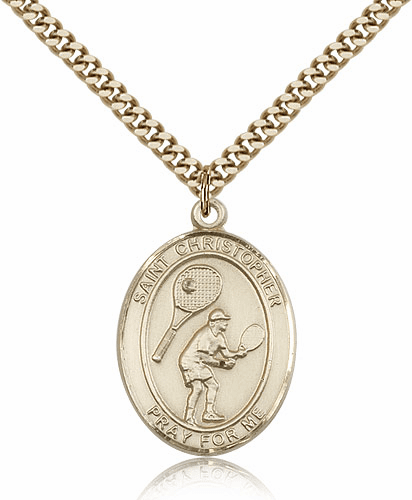 St Christopher Tennis Sports 14kt Gold-Filled Pendant Necklace by Bliss