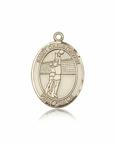 St Christopher Volleyball 14kt Gold Sports Medal Pendant by Bliss