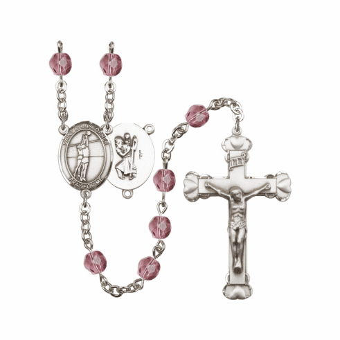 St Christopher Volleyball Athlete Silver-Plated Birthstone Rosary