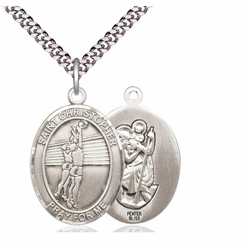 St Christopher Volleyball Pewter Patron Saint Necklace by Bliss