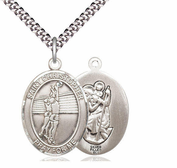 St Christopher Volleyball Player Silver-Filled Patron Saint Medal by Bliss