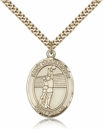 St Christopher Volleyball Sports 14kt Gold-Filled Pendant Necklace by Bliss
