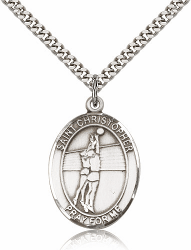 St Christopher Volleyball Sports Sterling Silver Pendant Necklace by Bliss