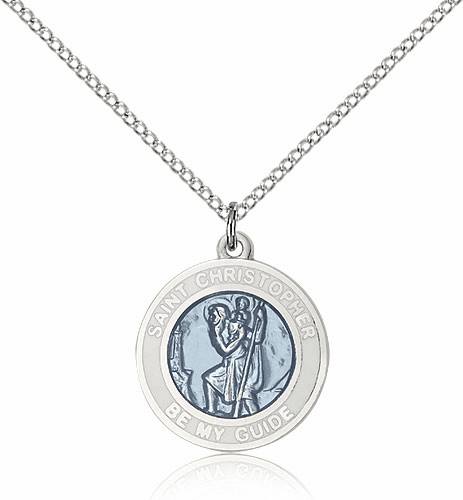 St Christopher White & Blue Enamel Saint Necklace by Bliss