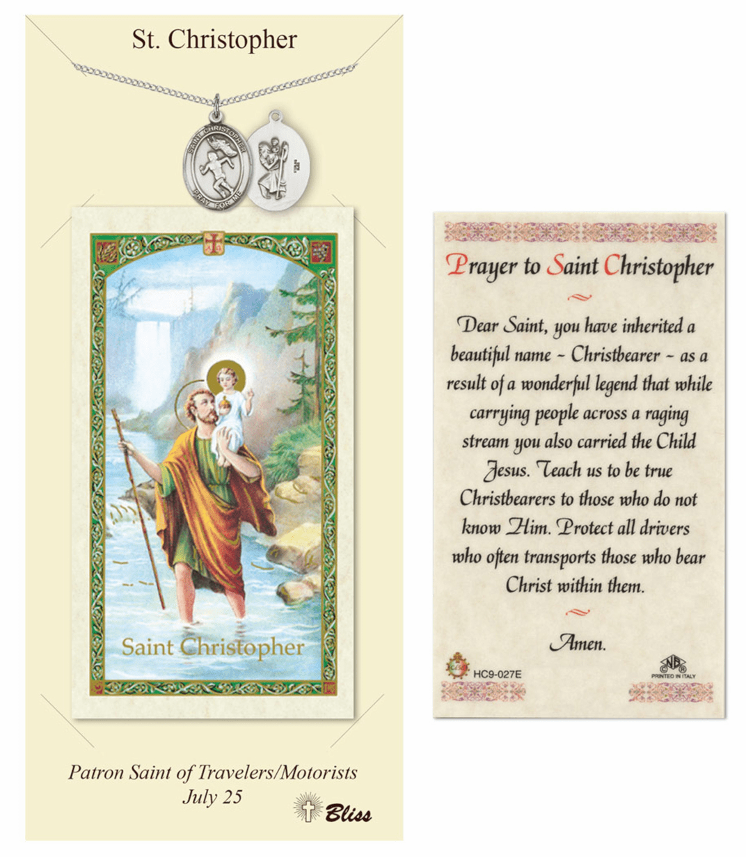 Bliss St Christopher Women Track Prayer Card and Pewter Pendant Necklace Gift Set