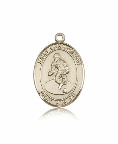St Christopher Wrestling 14kt Gold Sports Medal Pendant by Bliss