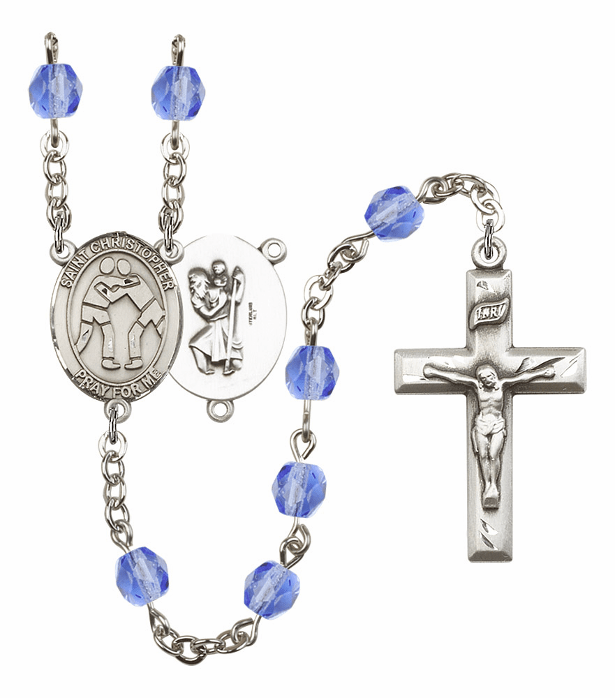 St Christopher Wrestling Athlete Silver-Plated Birthstone Rosary