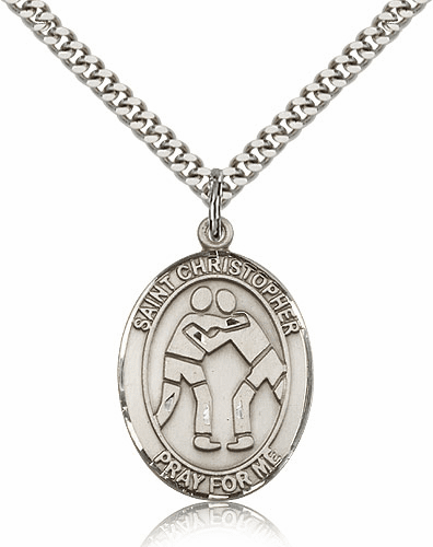 St Christopher Wrestling Pewter Patron Saint Necklace by Bliss