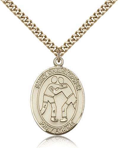 St Christopher Wrestling Sports 14kt Gold-Filled Pendant Necklace by Bliss