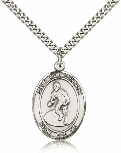 St Christopher Wrestling Sterling-Filled Patron Saint Medal by Bliss