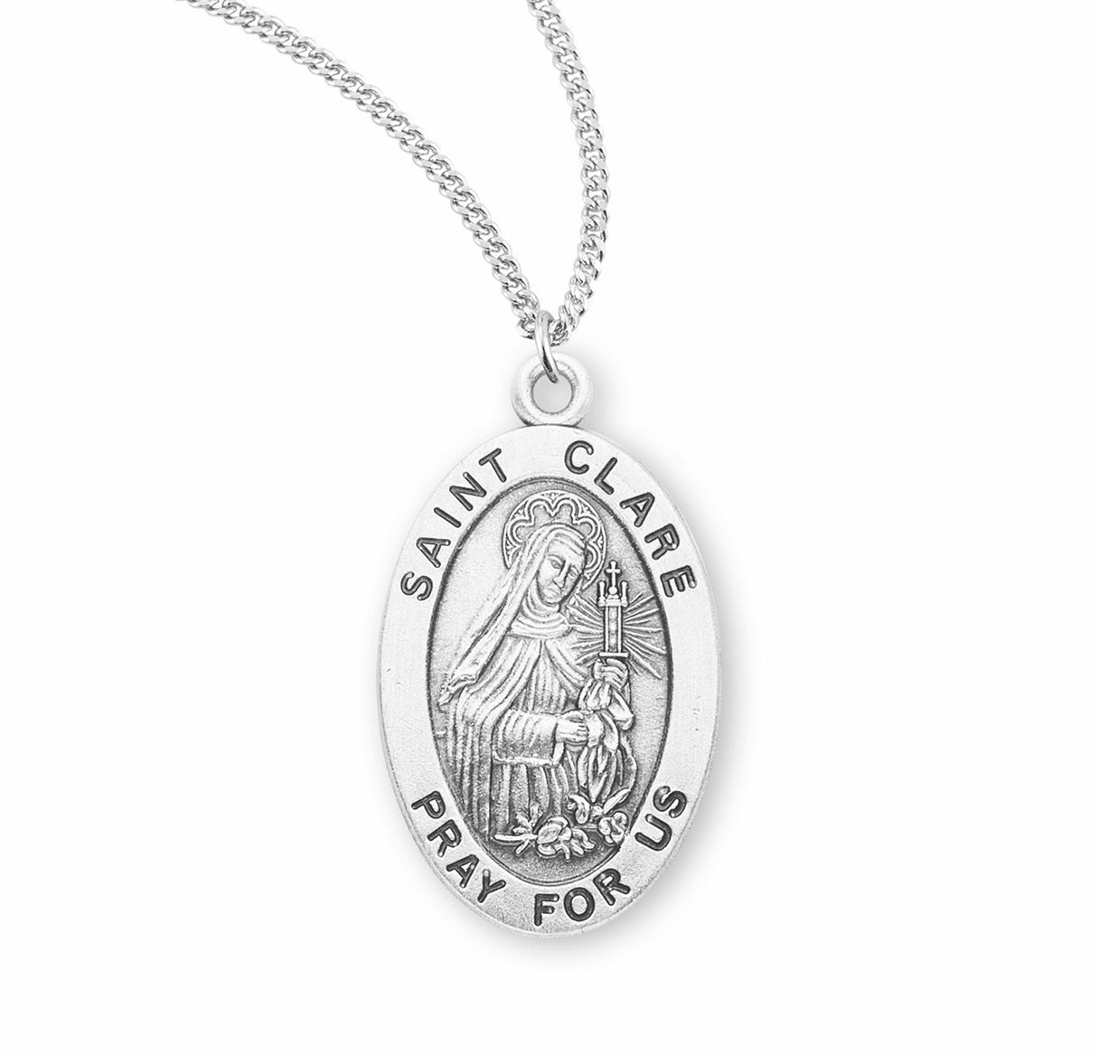 HMH Religious St Clare Catholic Saint Sterling Silver Medal Necklace