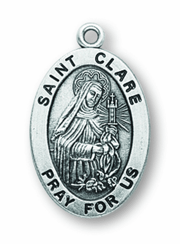 St Clare Catholic Saint Sterling Silver Medal Necklace