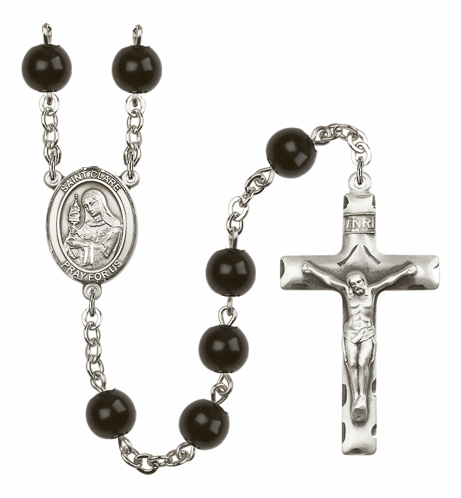 Bliss Mfg St Clare of Assisi 7mm Black Onyx Rosary