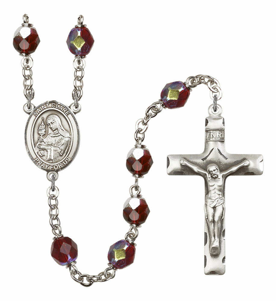 St Clare of Assisi 7mm Lock Link Aurora Borealis Garnet Rosary by Bliss Mfg