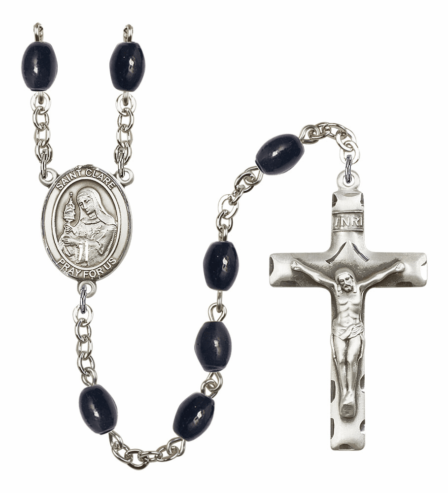 St Clare of Assisi 8x6mm Black Onyx Gemstone Prayer Rosary by Bliss