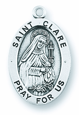 St Clare of Assisi Large Oval Sterling Silver Medals by HMH Religious