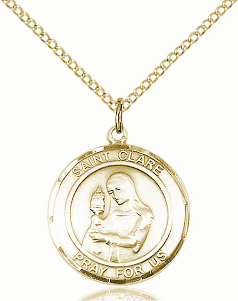 St Clare of Assisi Medium Patron Saint 14kt Gold-filled Medal by Bliss