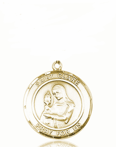St Clare of Assisi Medium Patron Saint 14kt Gold Medal by Bliss