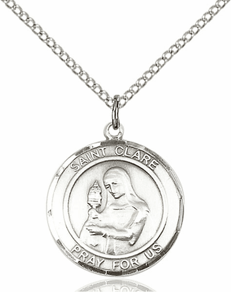 St Clare of Assisi Medium Patron Saint Pewter Medal by Bliss