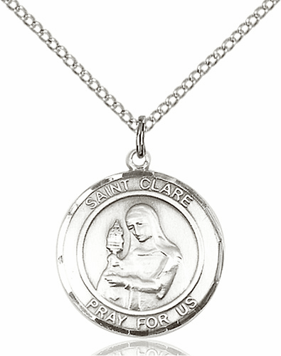 St Clare of Assisi Medium Patron Saint Silver-filled Medal by Bliss