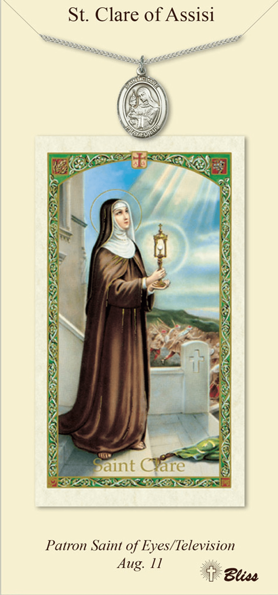 St Clare of Assisi Prayer Card & Pendant Gift Set